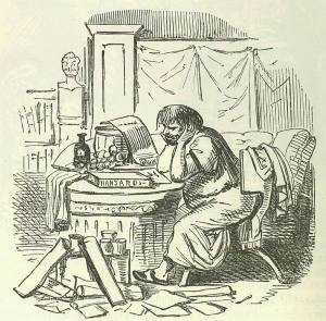 Scipio Aemilianus cramming himself for a speech after a hearty supper. Image by John Leech, from: The Comic History of Rome by Gilbert Abbott A Beckett. Bradbury, Evans & Co, London, 1850s